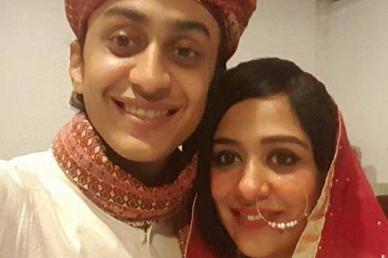 Yasra Rizvi with husband on their wedding day